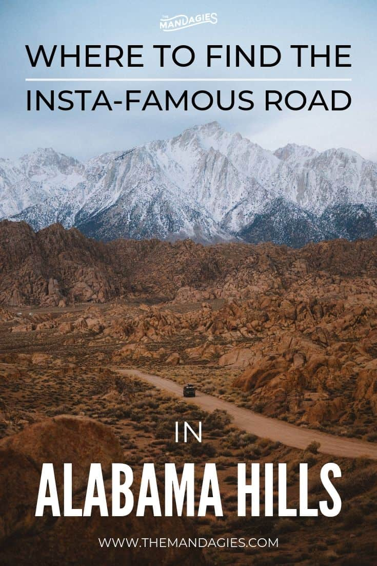 Looking for that famous road in Alabama Hills, California? We're spilling the beans on Movie Road, exactly where it is, and what you can expect in this part of Southern California! #california #roadtrip #southwestUSA #sierramountains #hiking #movieroad #ravel #desert #photography #sunrise #westernmovies #USA