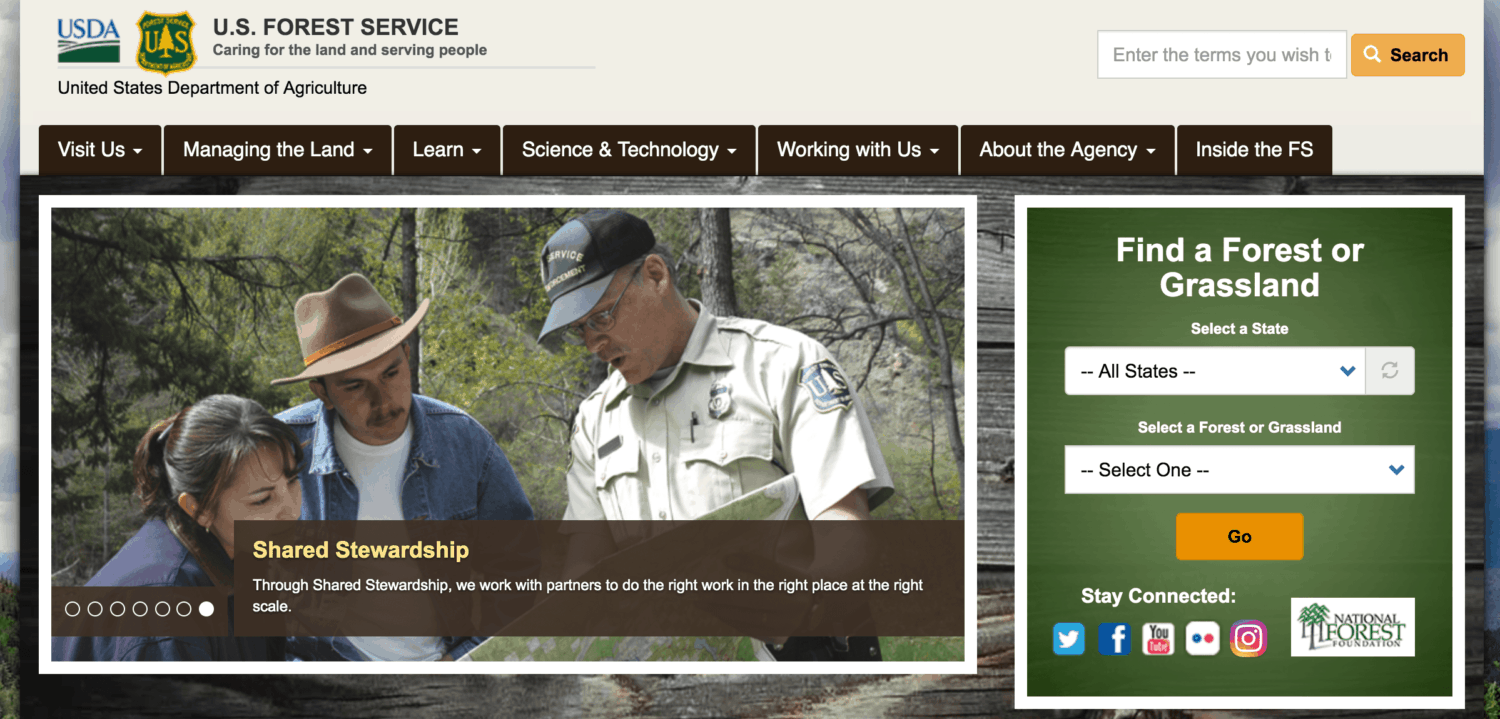 US Forest Service Website Home Page View