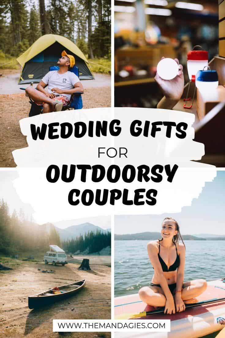 Looking for that perfect wedding gift for the outdoorsy couple? We're sharing our favorite items, as well as tips for making your own awesome outdoor wedding registry too! #giftguide #wedding #outdoorgifts #weddingregistry #campinggifts #travelgifts #weddinggifts #weddingpresents #outdoorcouple
