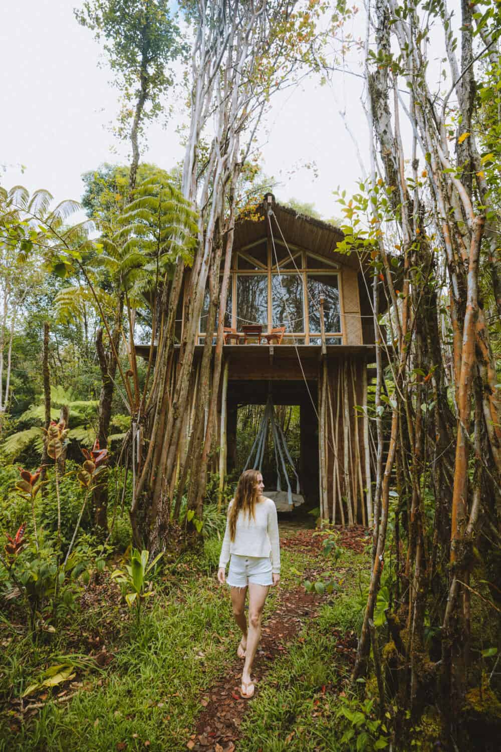 Emily Mandagie walking around Big Island Treehouse - TheMandagies.com