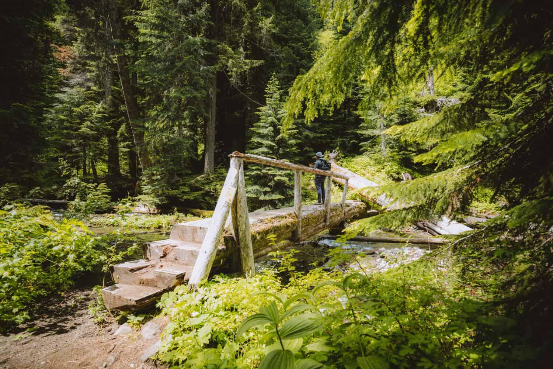 Berty walking across last wooden bridge before Diamond Creek Falls base
