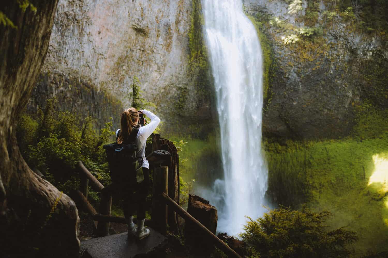 Emily taking photos of Salt Creek Falls