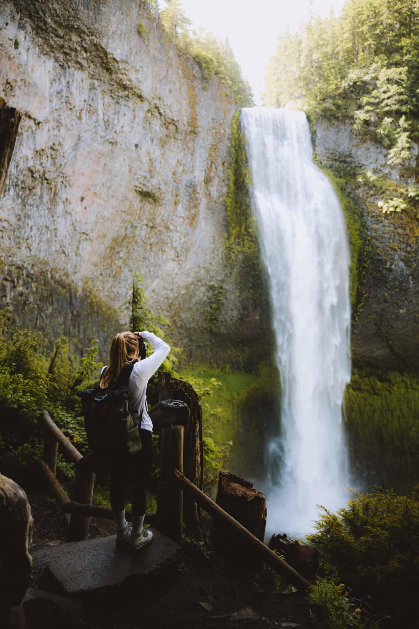 Emily taking a photo of Salt Creek Falls
