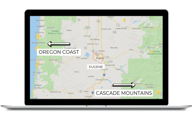 Day trips from Eugene, Oregon - map