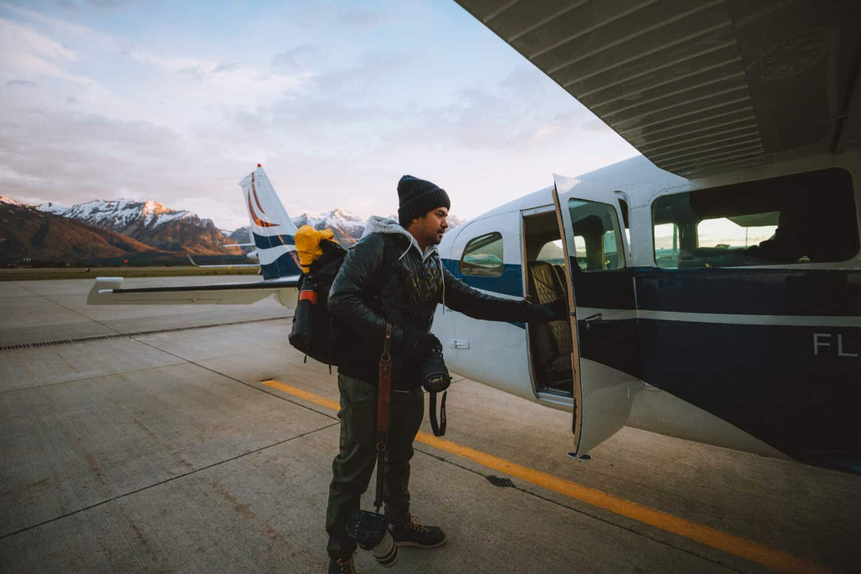 Berty entering plane at Fly Jackson Hole - TheMandagies.com