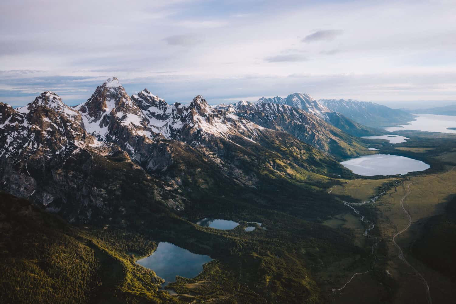 Grand Teton and lakes from above - aerial photography - TheMandagies.com
