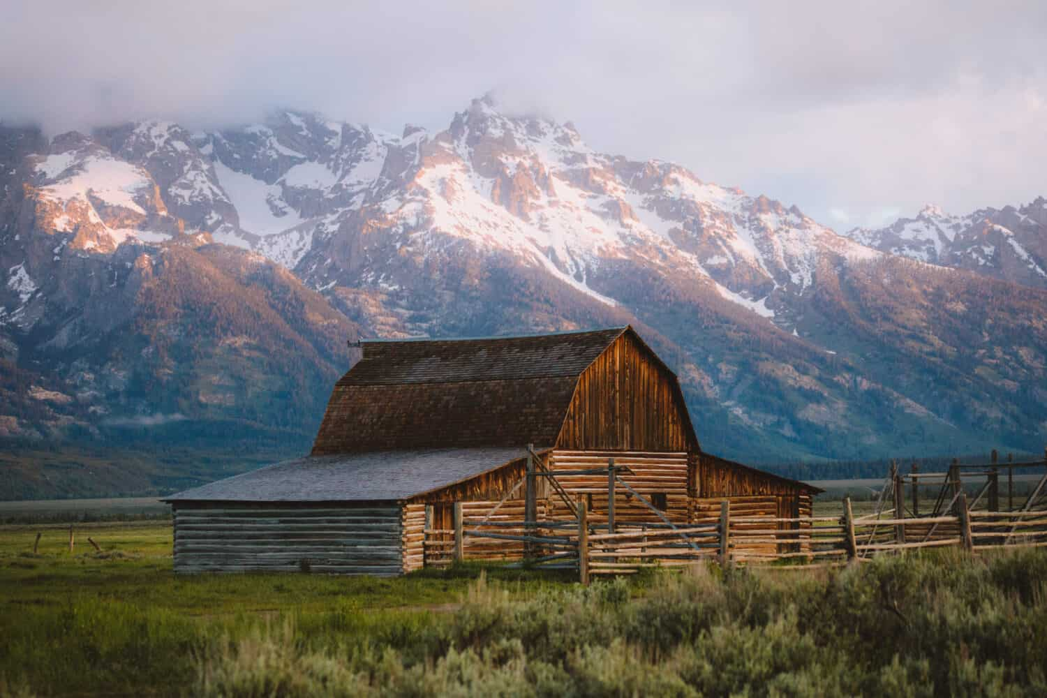 Mormon Row Barn at Sunrise - Grand Teton National Park - TheMandagies.com
