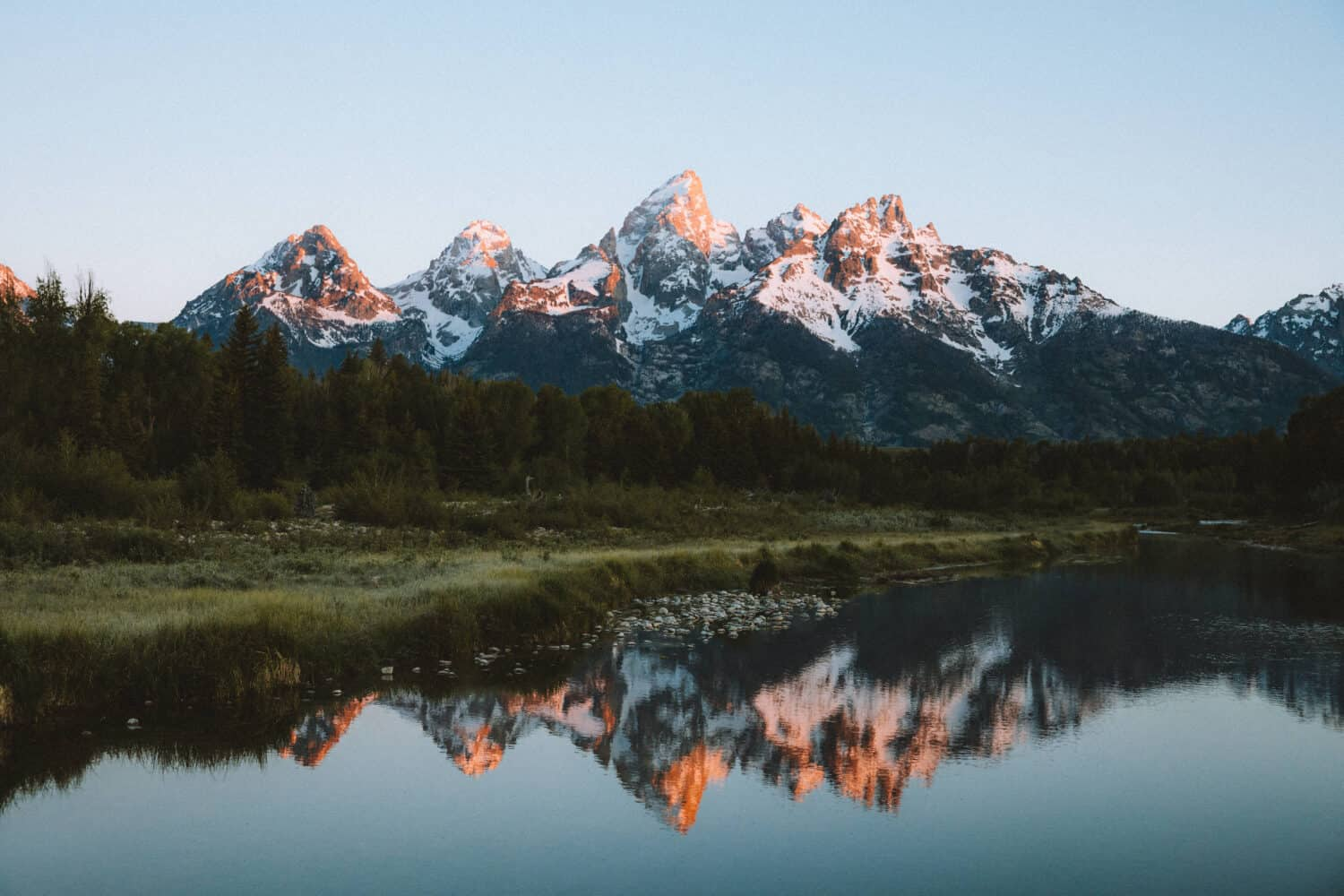 Grand Teton Mountains During Sunrise - TheMandagies.com