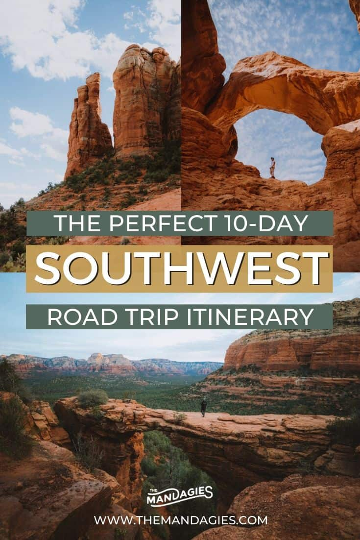Looking for a southwest road trip that covers all the best stops? We're sharing several Southwest road trip routes in this post, from the Utah National Parks. southern California, Sedona, and everywhere in between! Save this post for future inspiration for your next epic trip to the American southwest! #utah #arizona #california #deathvalley #sedona #joshuatree #grandcanyon #zion #brycecanyon #arches #canyonlands #desert #americansouthwest #roadtrip