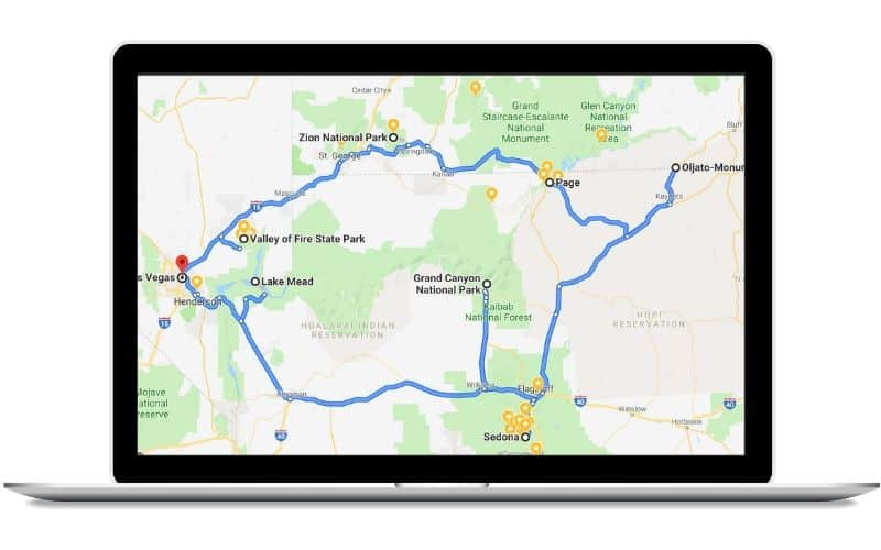 Grand Canyon / Desert Loop Road Trip Route Map - Southwest USA Road Trip