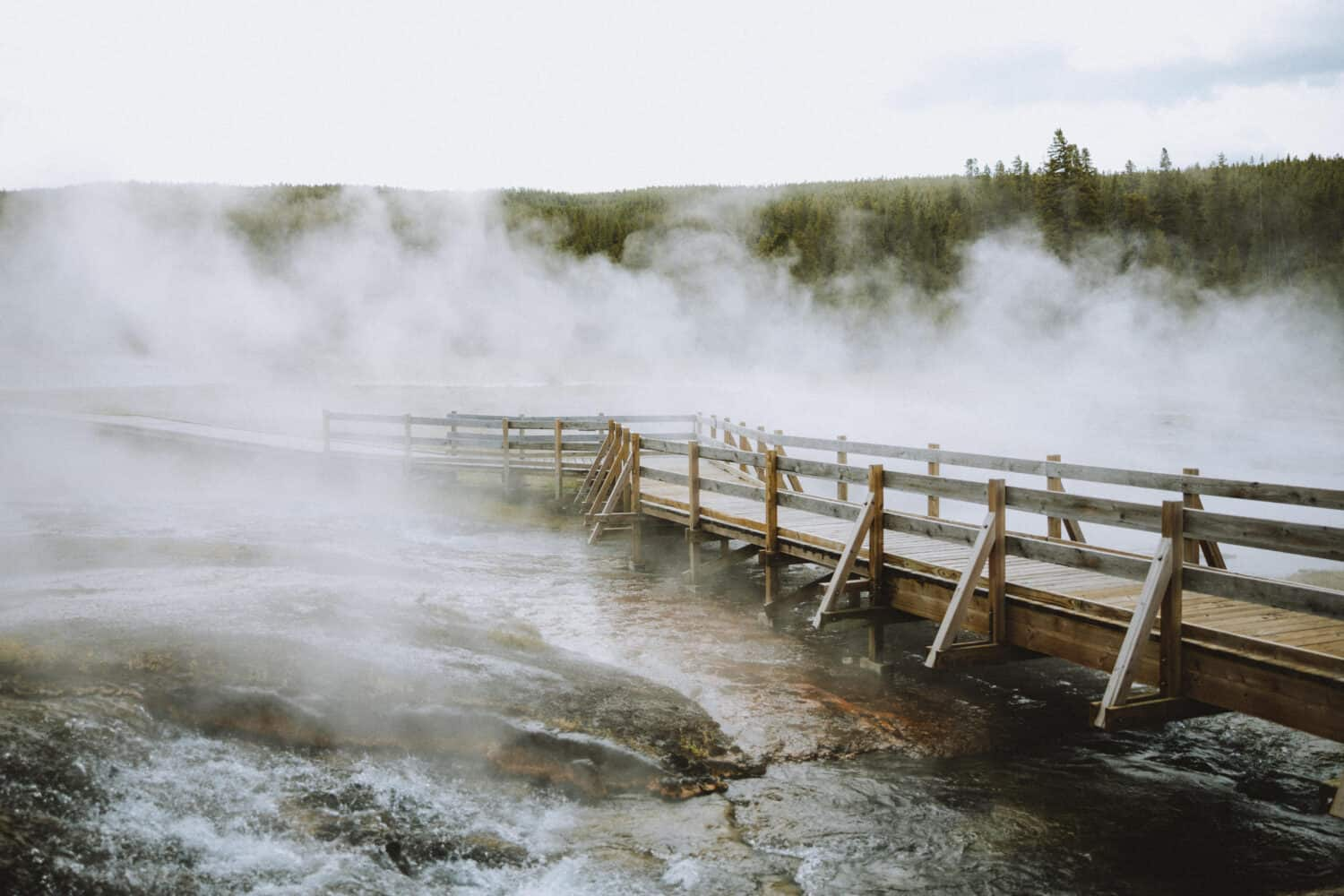 Steamy boardwalks at Yellowstone National Park