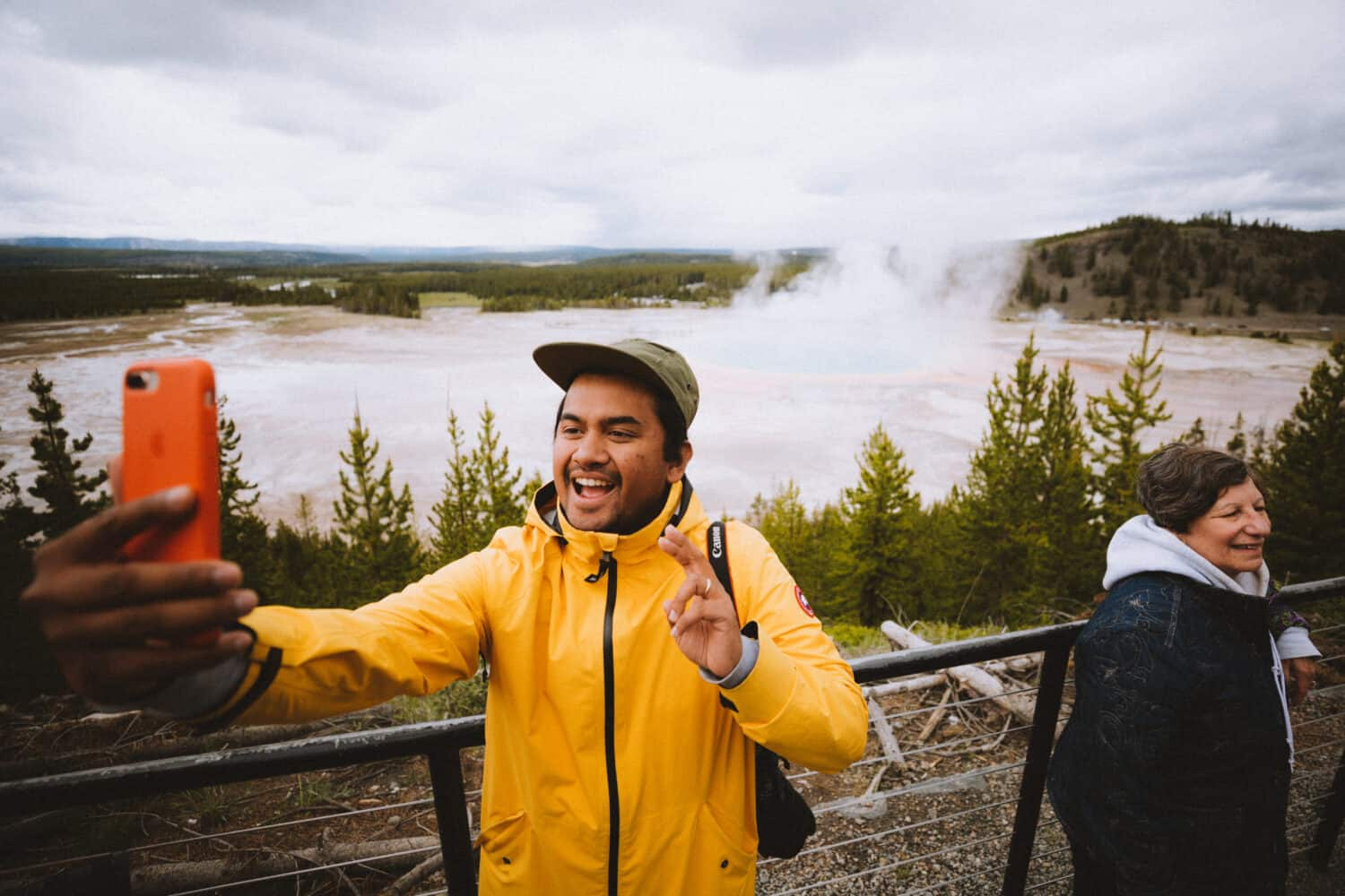 Berty taking a selfie at Grand Prismatic Overlook