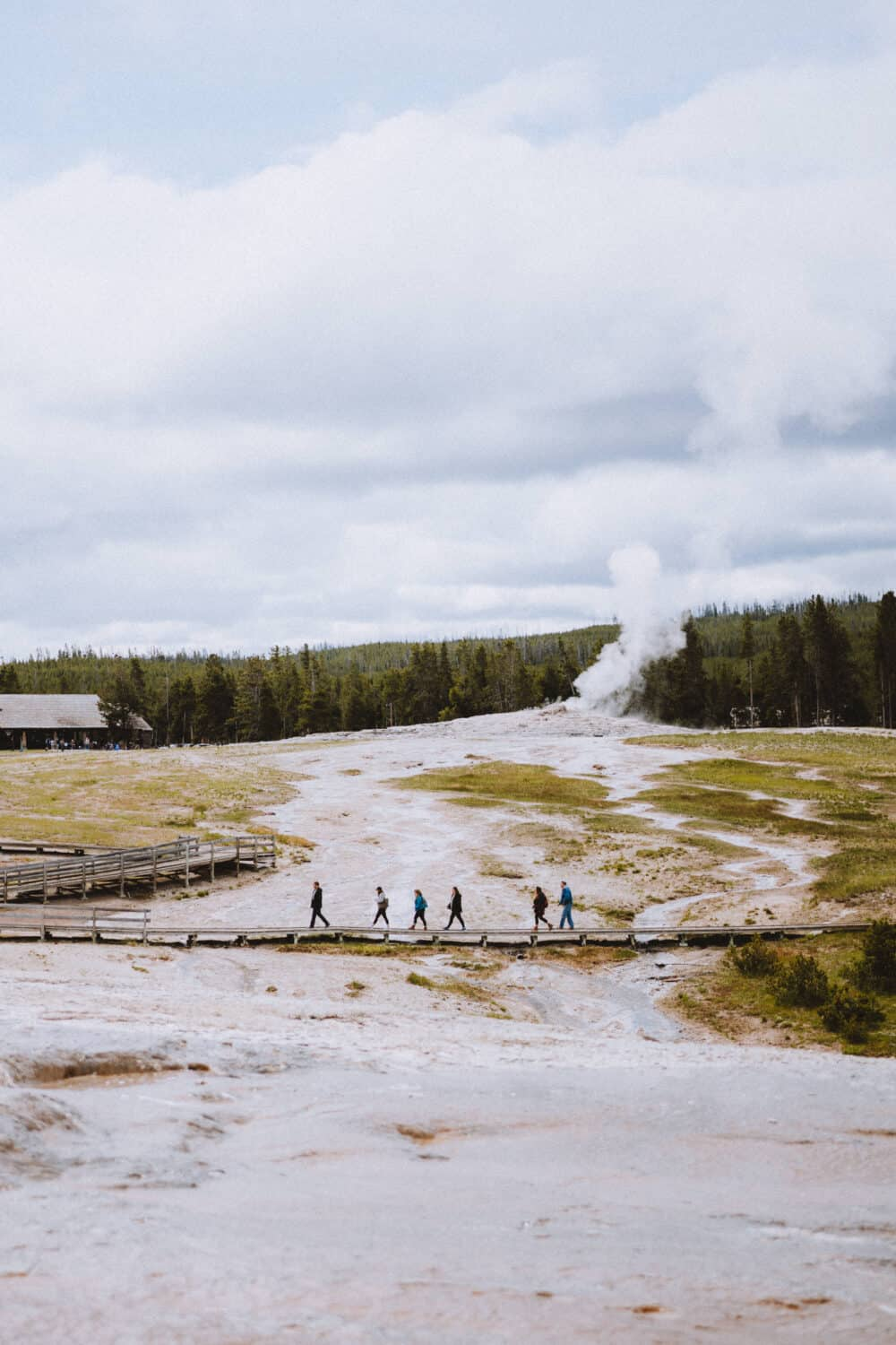 People walking on boardwalk in Upper Basin Yellowstone