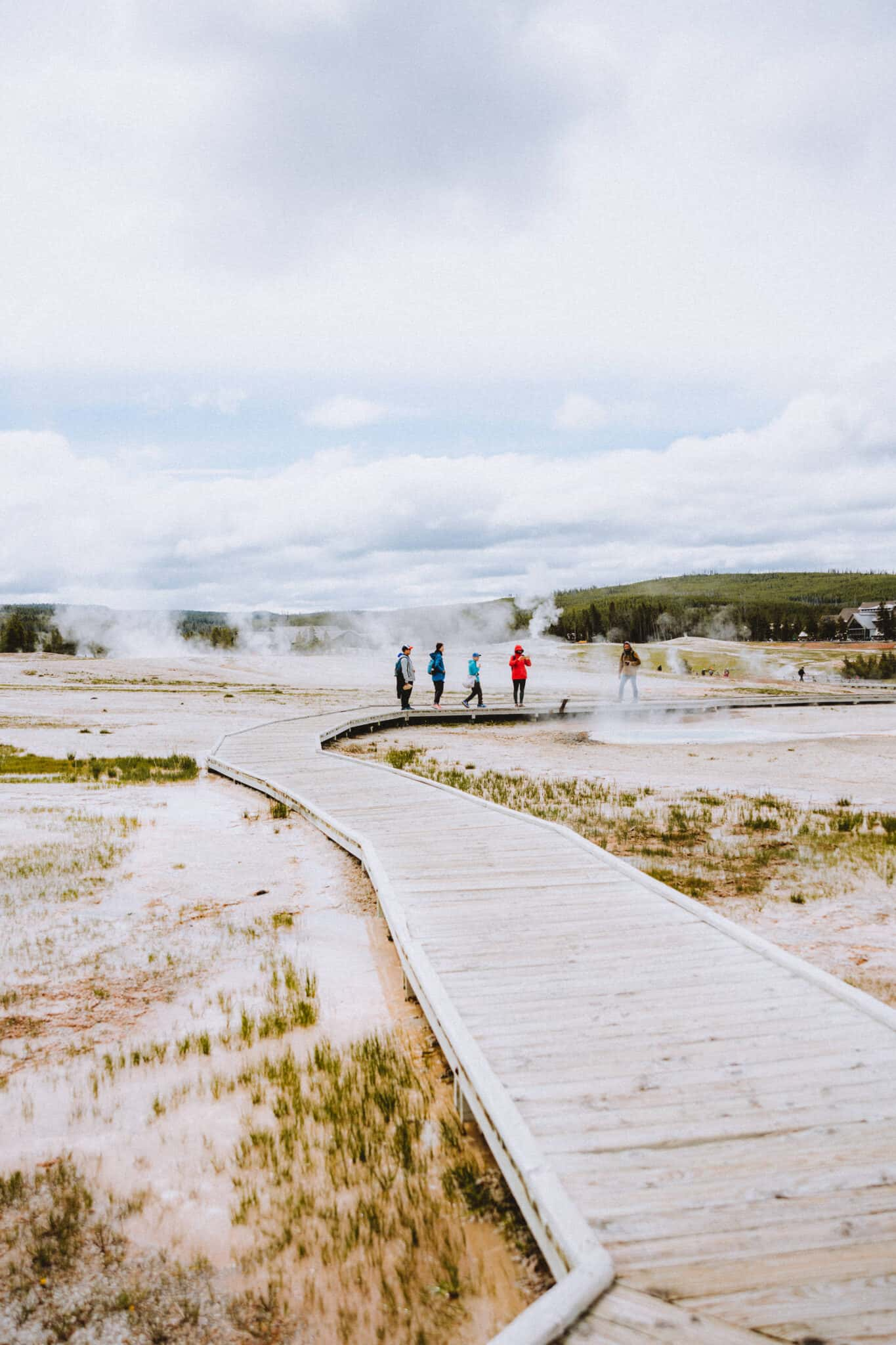 People walking on Boardwalk in Yellowstone National Park