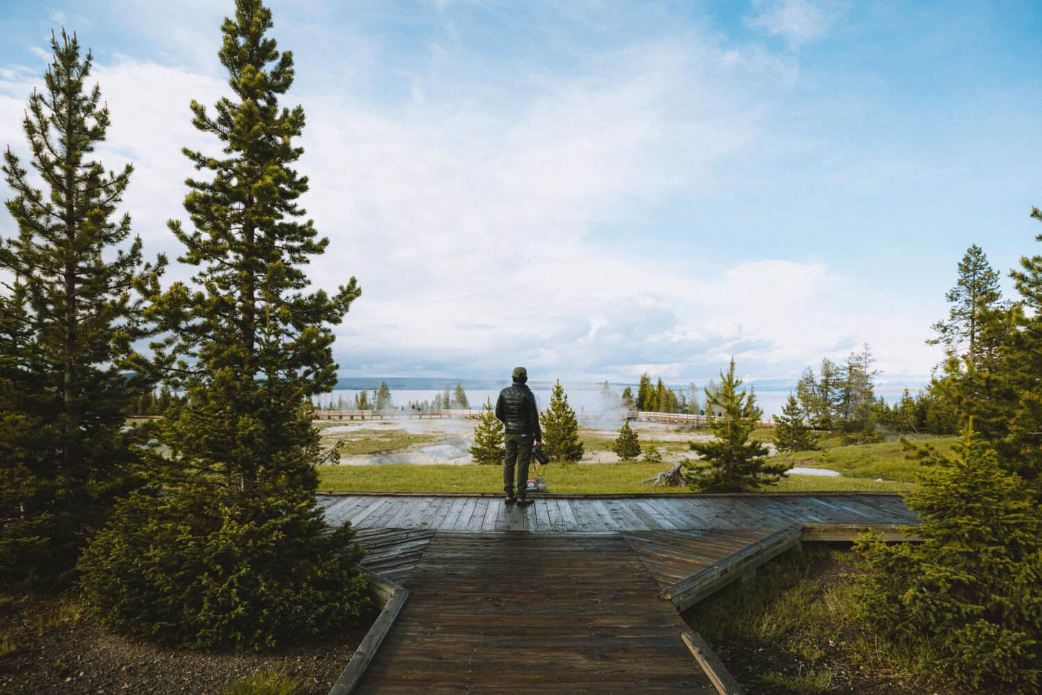Berty standing at West Thumb boardwalk - Yellowstone National Park