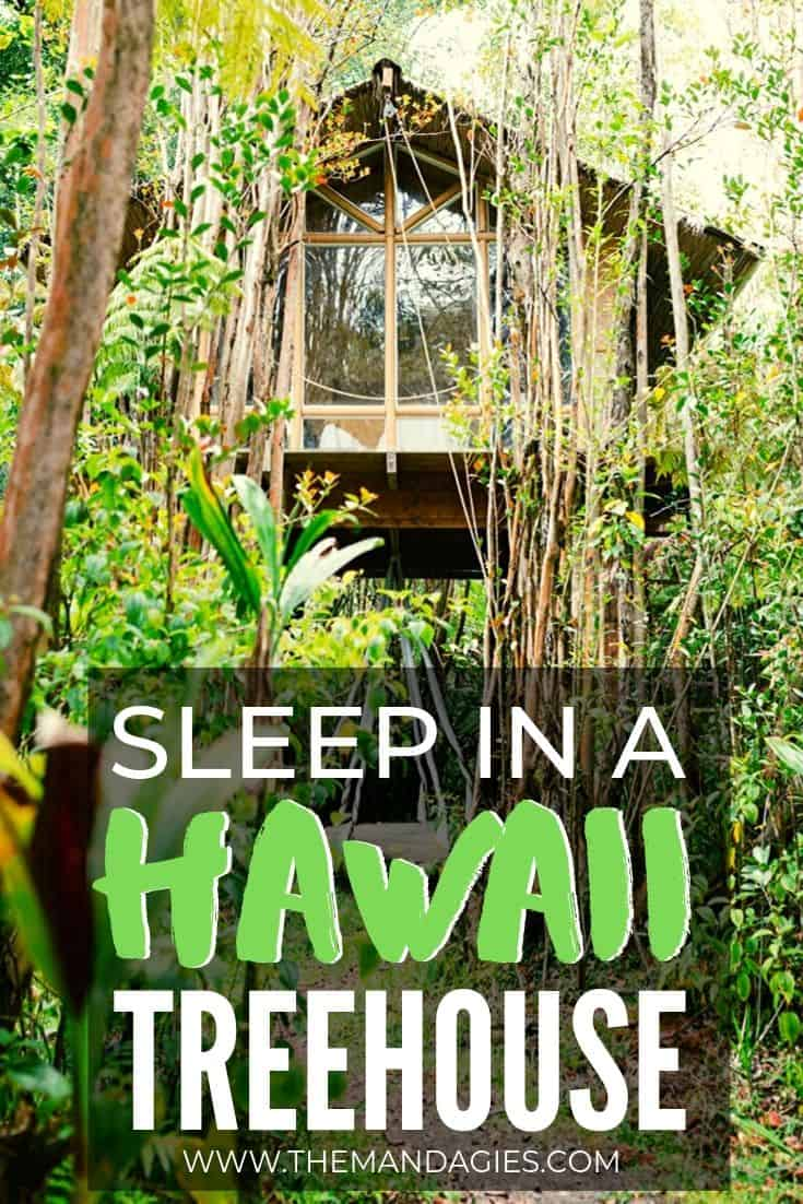 Looking for unique Hawaii Accommodations? We're sharing the best place to stay in Hawaii, and it's a treehouse! Click here to read all about this epic Hawaii vacation rental. #hawaii #treehouse #uniquestay #airbnb #tropical #jungle #bigisland