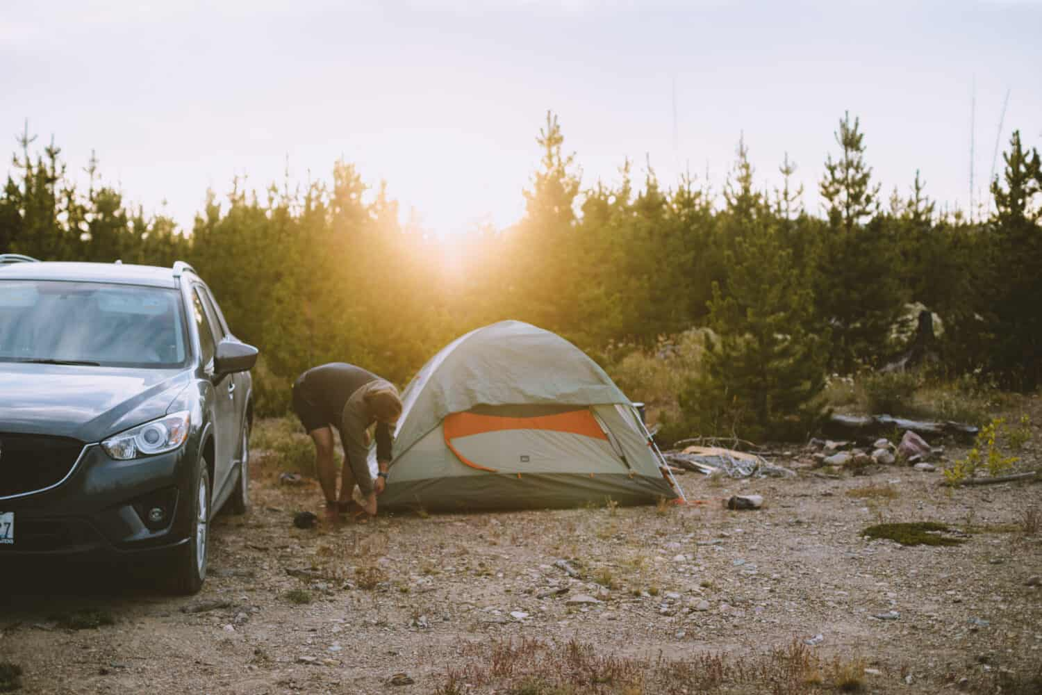 Setting up camp near Glacier National Park