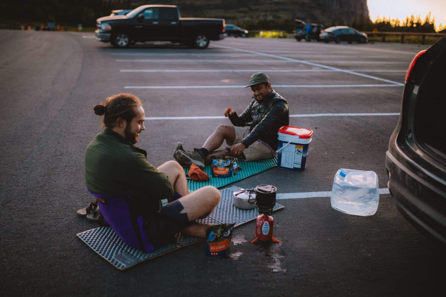 Eating dinner in parking lot