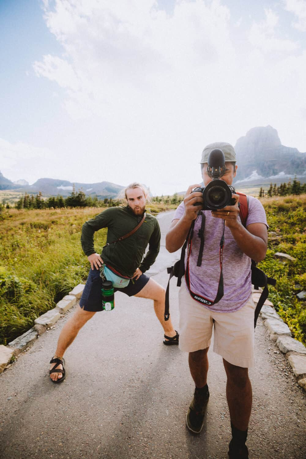 Joseph and Berty, taking photos on hiking trail