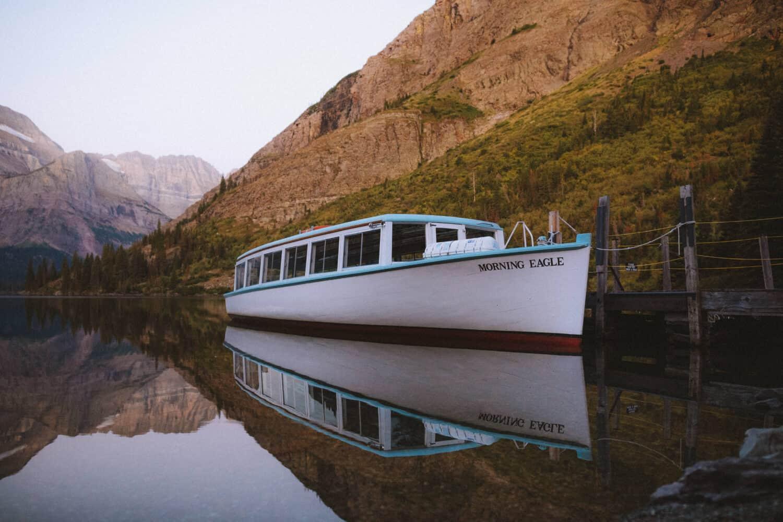 Morning Eagle charter boat on Lake Josephine, Many Glacier Area, Montana