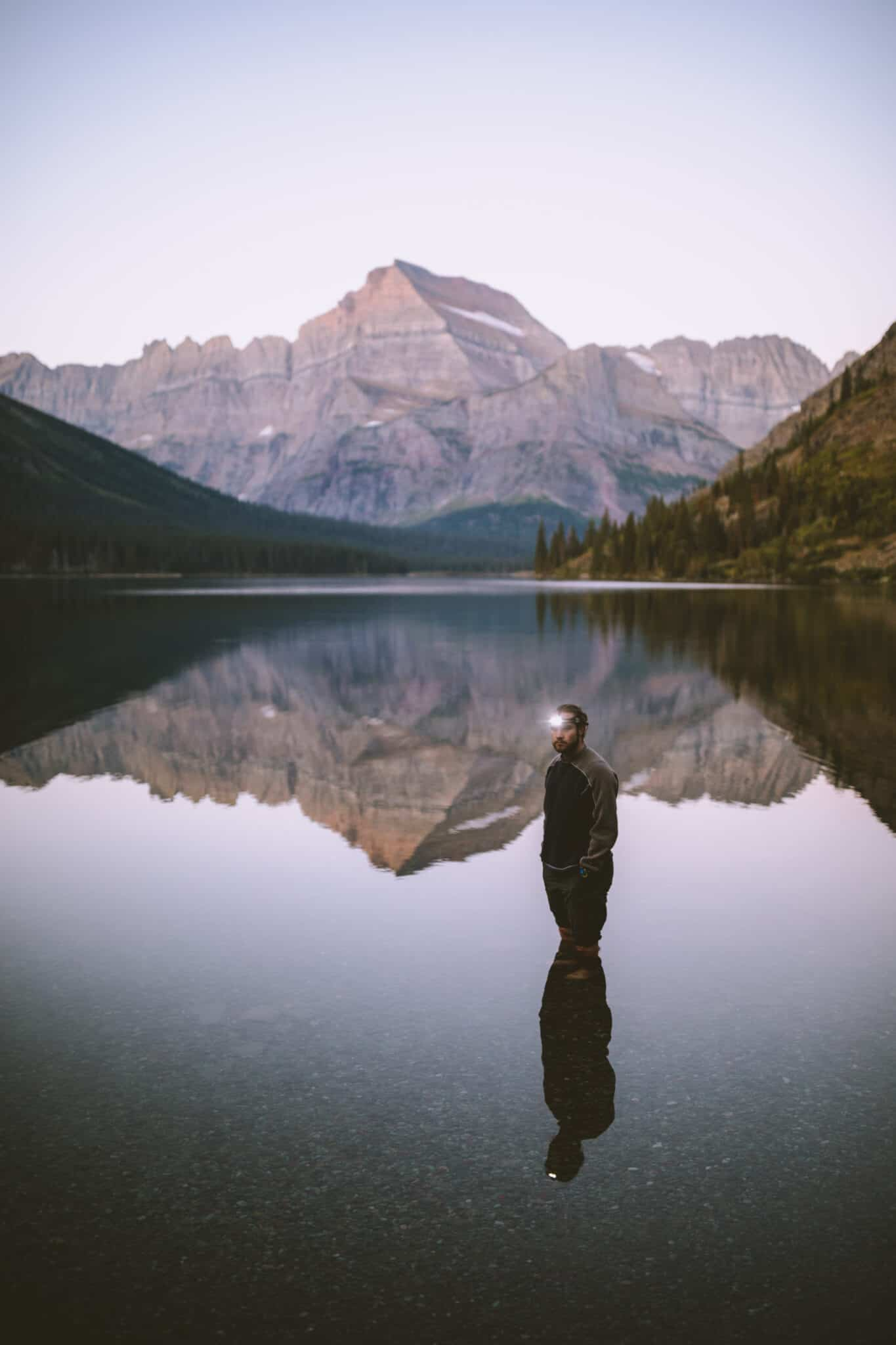 Joseph in Lake Josephine - Glacier National Park Montana (TheMandagies.com)