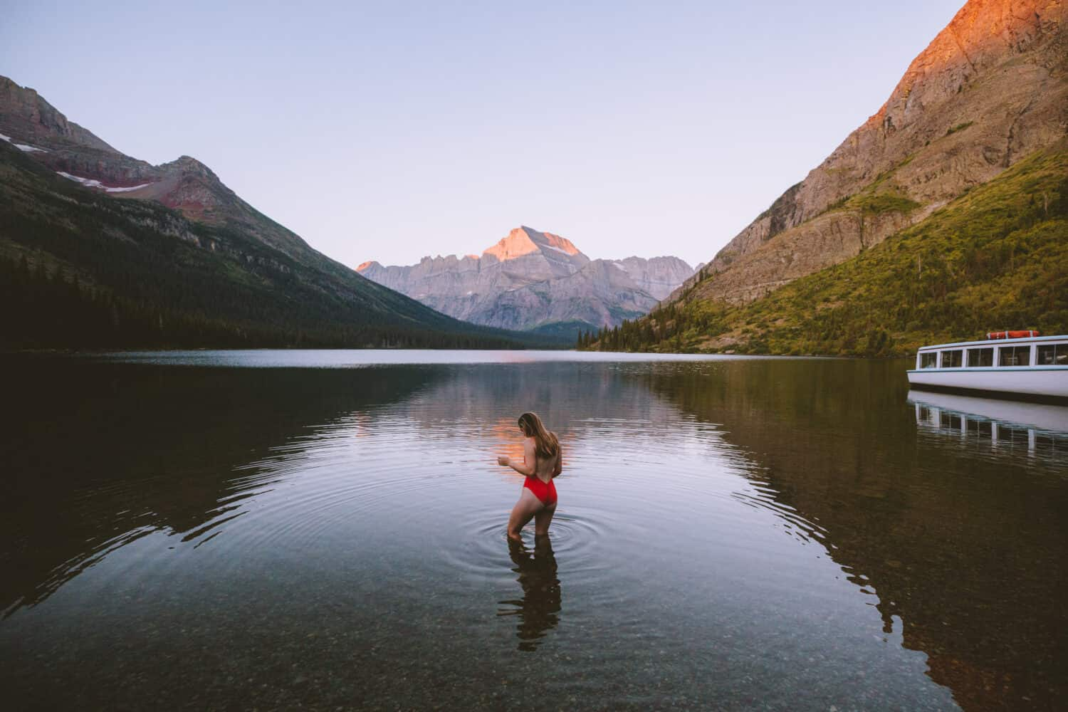 Emily in Lake Josephine - Glacier National Park (TheMandagies.com