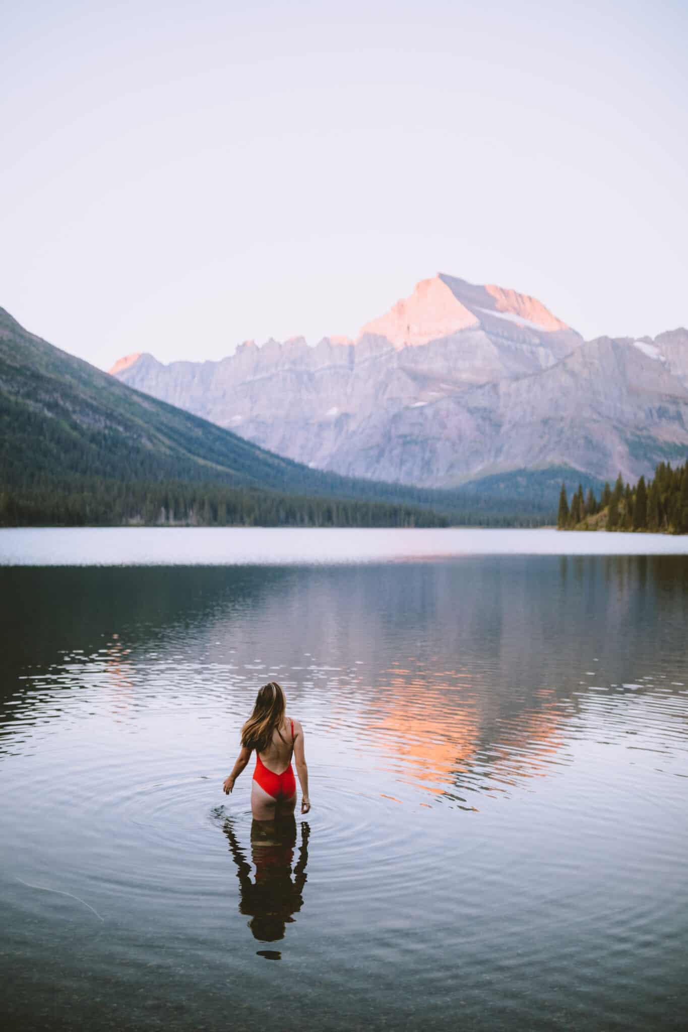 Emily Mandagie in Lake Josephine - Glacier National Park Montana (TheMandagies.com)