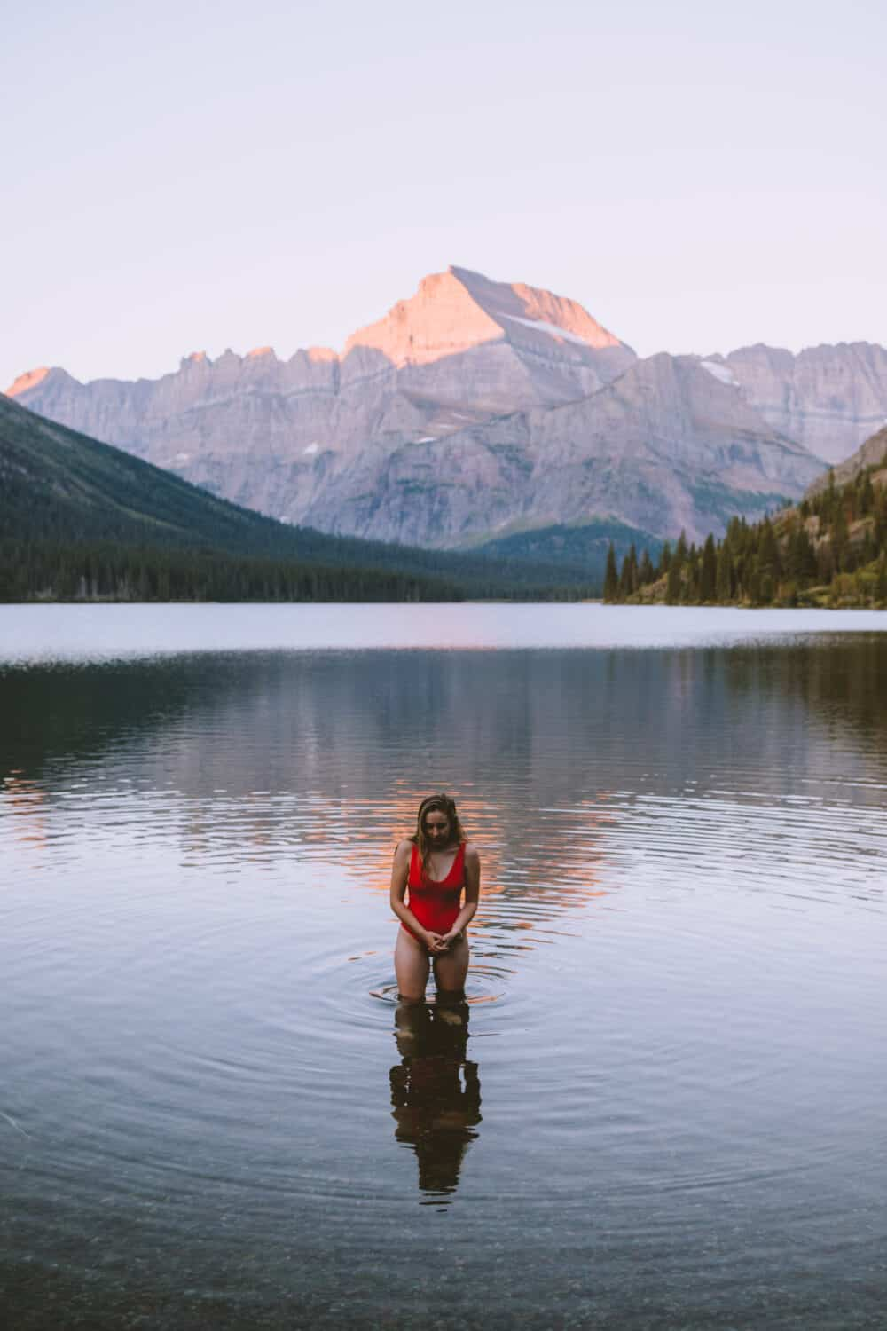 Emily in Lake Josephine - Glacier National Park Montana (TheMandagies.com)