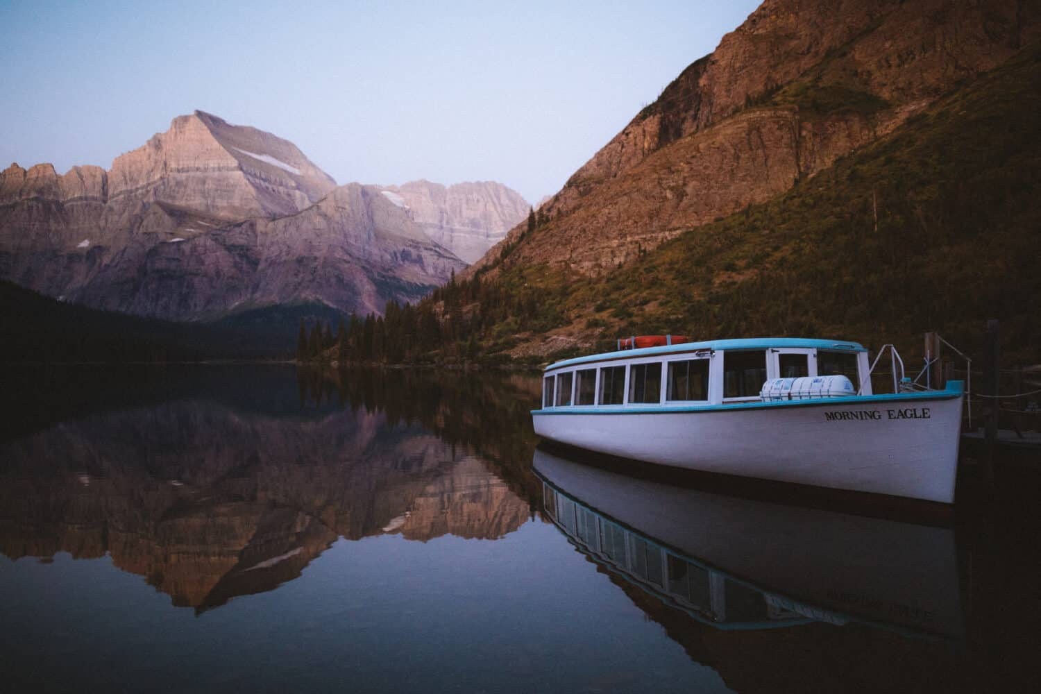 Morning Eagle Boat on Lake Josephine - Glacier National Park (TheMandagies.com