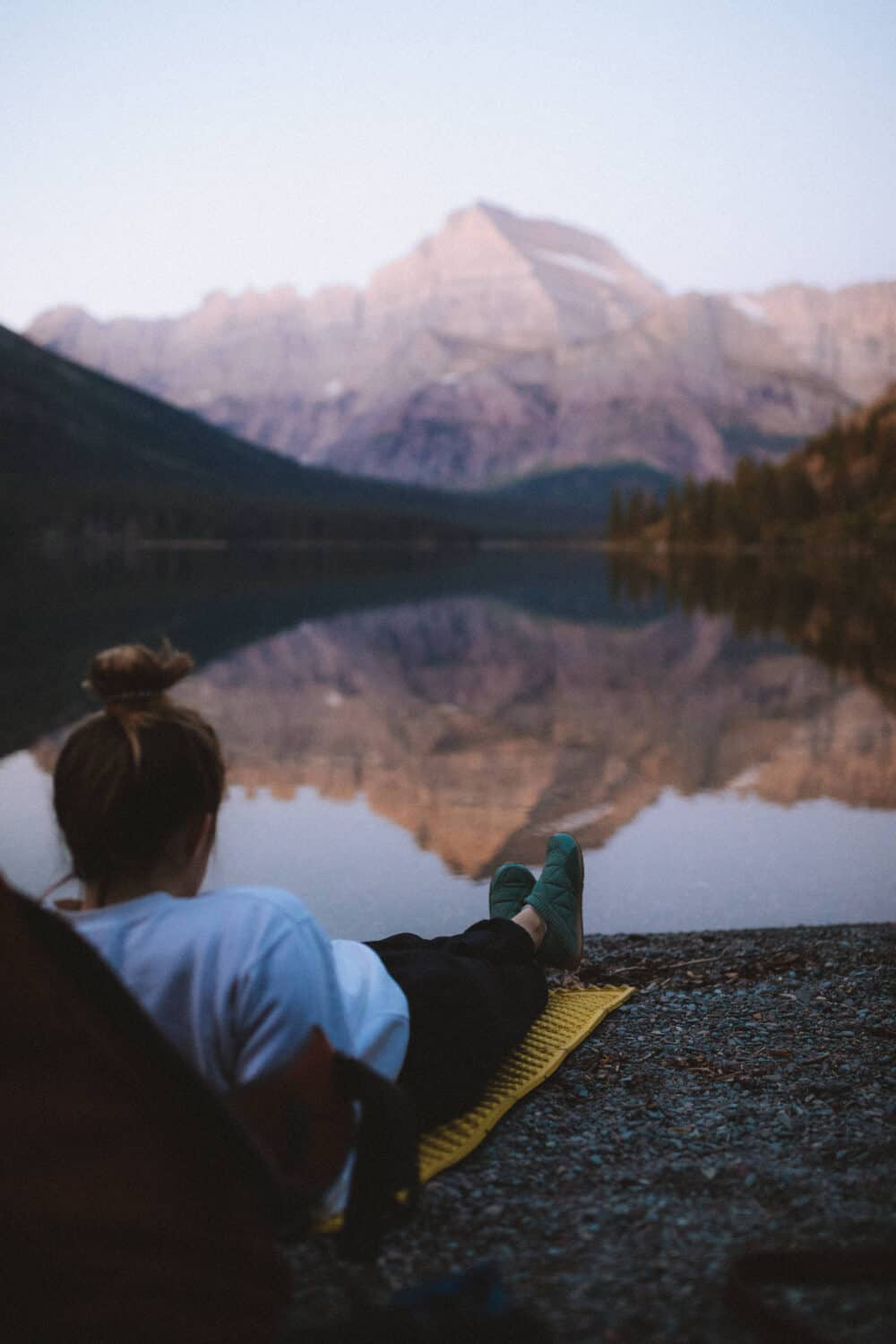 Relaxing at Lake Josephine - Glacier National Park Montana (TheMandagies.com)