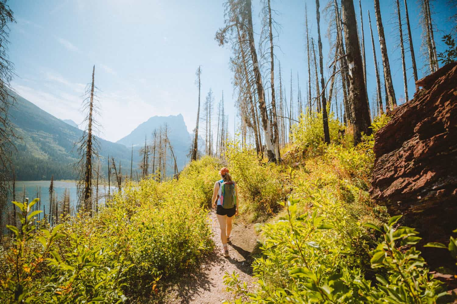 Emily Mandagie walking on St Mary Falls Trail, Glacier National Park