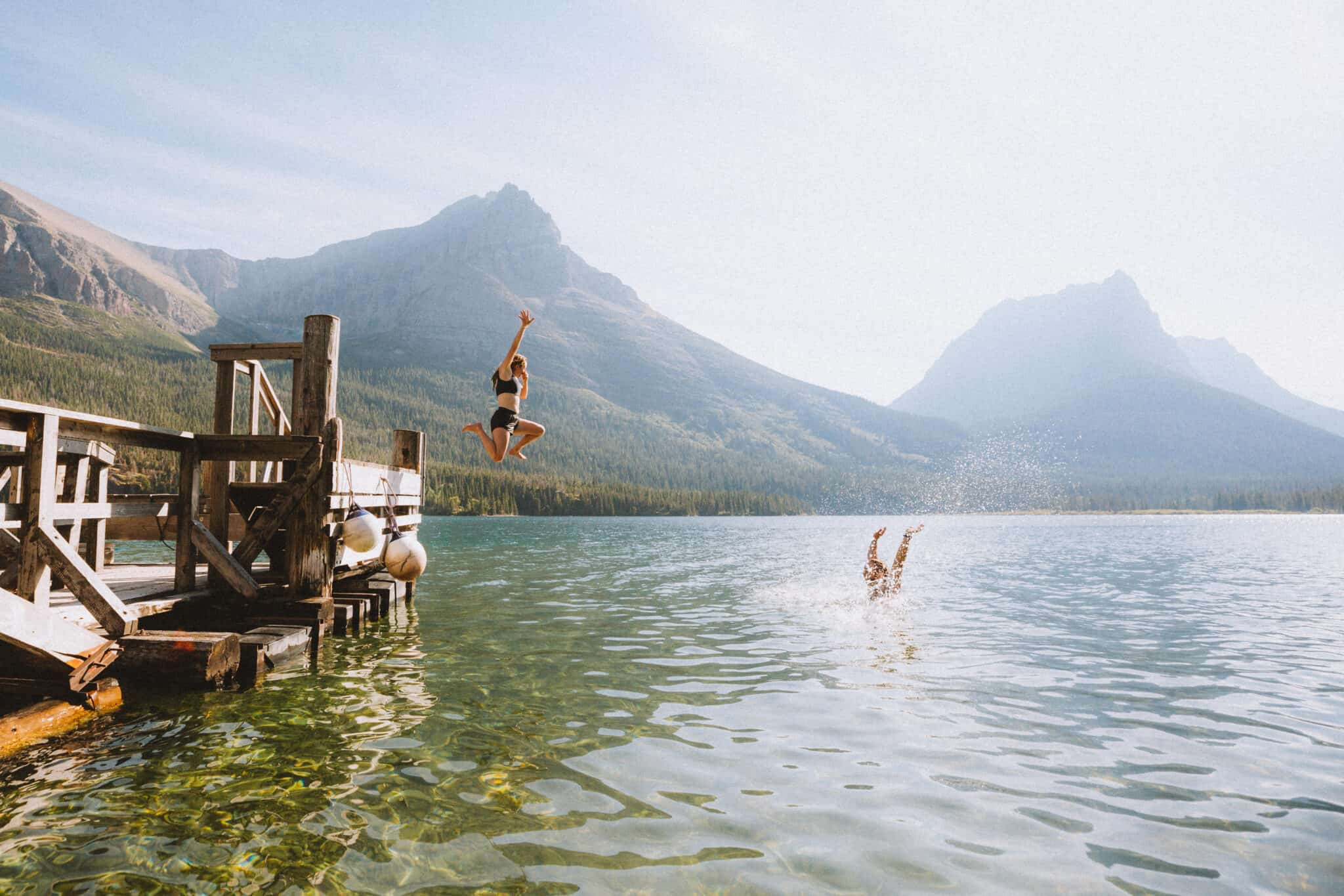 Jumping into St Mary Lake - TheMandagies.com