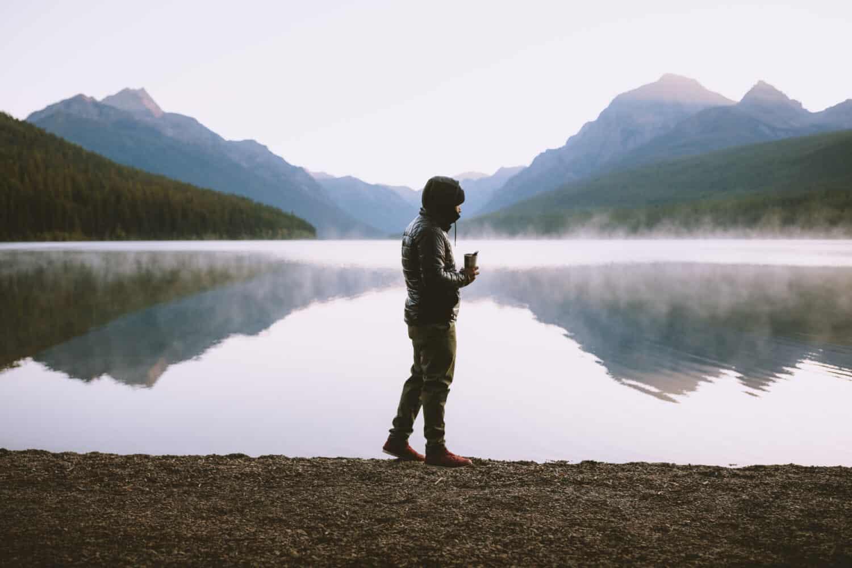 Berty walking at Bowman Lake during sunrise