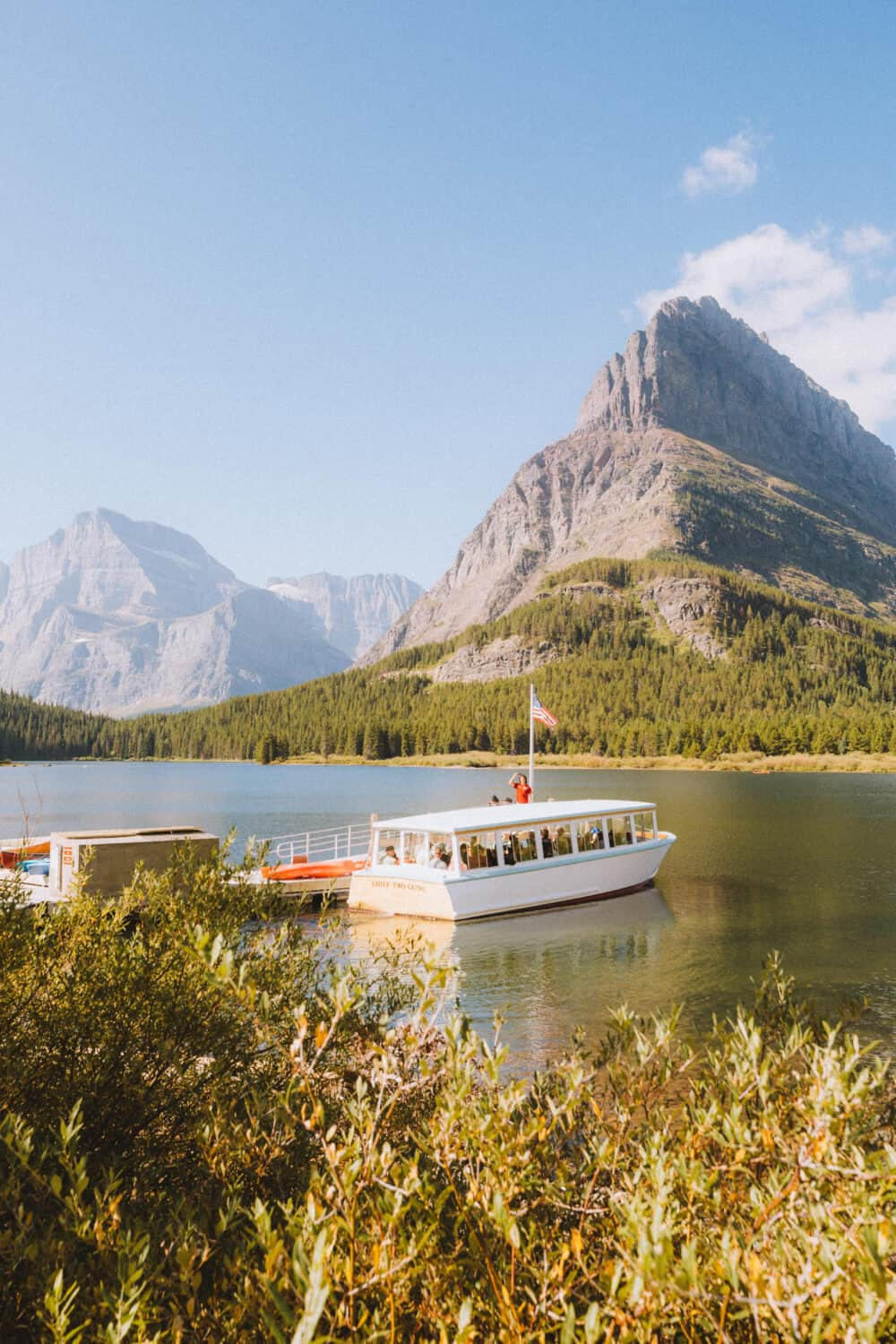Charter Boat on Swiftcurrent Lake, Many Glacier Area, Glacier Montana