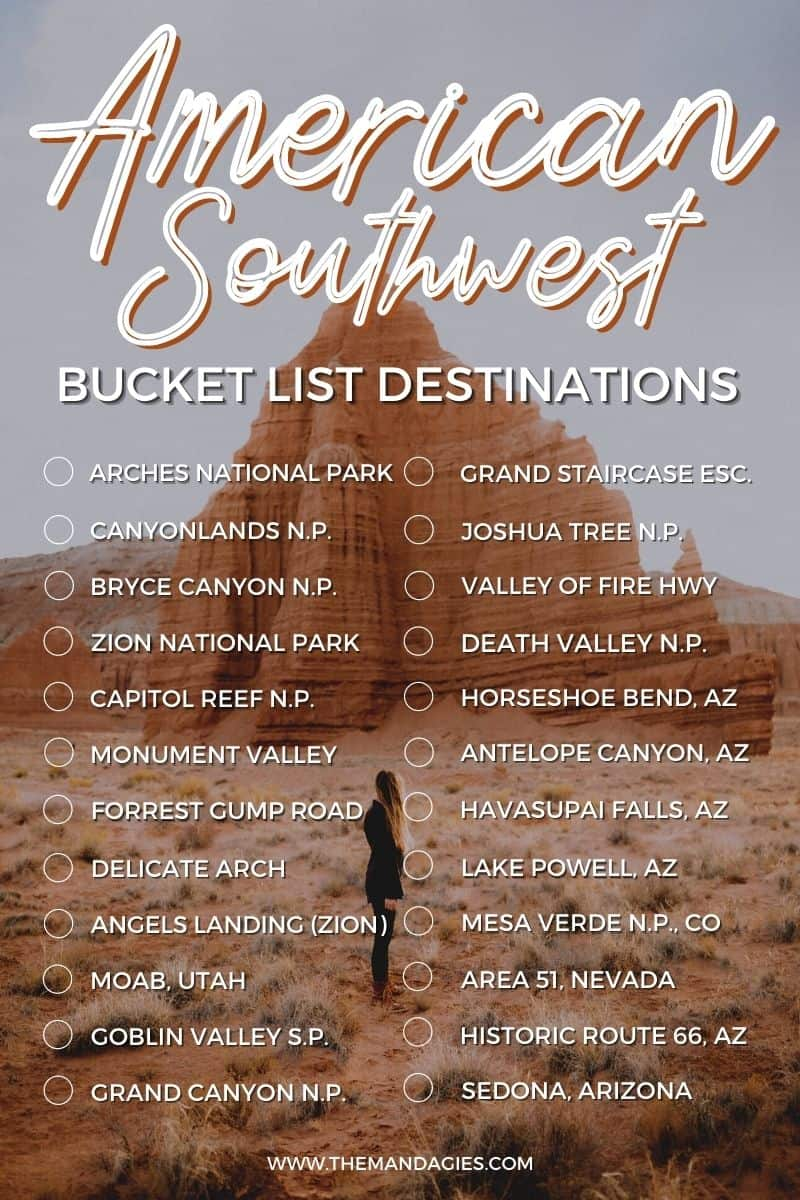 Discover all the best things to do in the American Southwest! We're sharing a Southwest USA bucket list to inspire your next trip in Utah, including famous stops like the Utah National Parks, Monument Valley, Antelope Canyon, The Grand Canyon, Sedona, and so many other great Southwest stops!! #utah #moab #desert #utahnationalparks #nationalparks #southwestUSA #AmericanSouthwest #roadtrip #photography #travel #arizona #newmexico #nevada #california