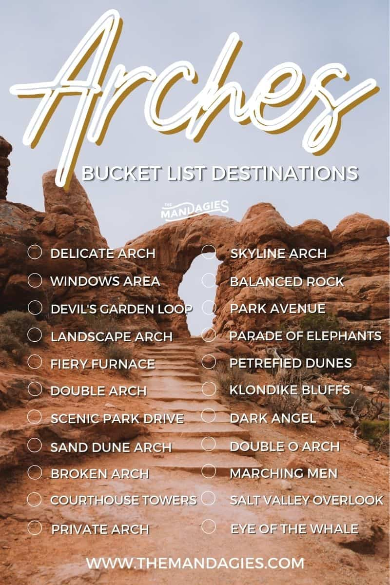Discover all the best things to do in Arches National Park! We're sharing an Arches National Park bucket list to inspire your next trip in Utah, including famous stops like Delicate Arch, The Devil's Garden Loop, Broken Arch, The Windows Area, and so many other great Arches National Park stops!! #utah #moab #desert #utahnationalparks #nationalparks #archesnationalpark #hiking #roadtrip #photography #travel #sunrise