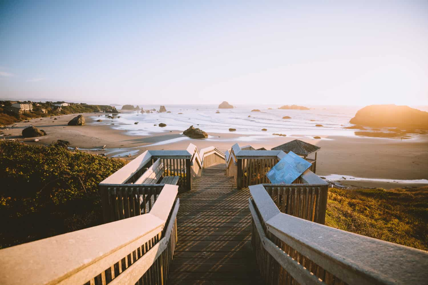 Coquille Stairs and Sunset - Bandon Beach Oregon