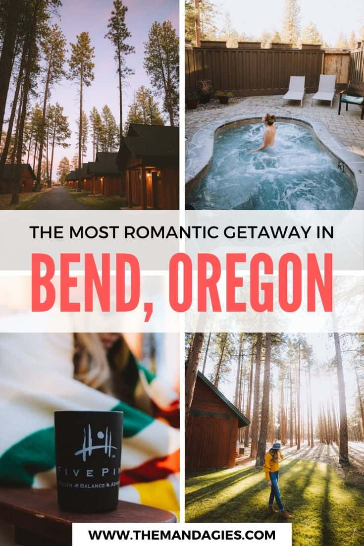 Looking for a romantic getaway in Bend, Oregon? We're sharing one of the best hotels in Sisters, Oregon in this post - FivePine Lodge! From the spa on site to the darling cabins among the pines - you won't want to leave this unique Oregon resort! #oregon #resort #bendoregon #sistersoregon #centraloregon #logcabin #travel #westernUSA #photography #landscape #mountains #USA