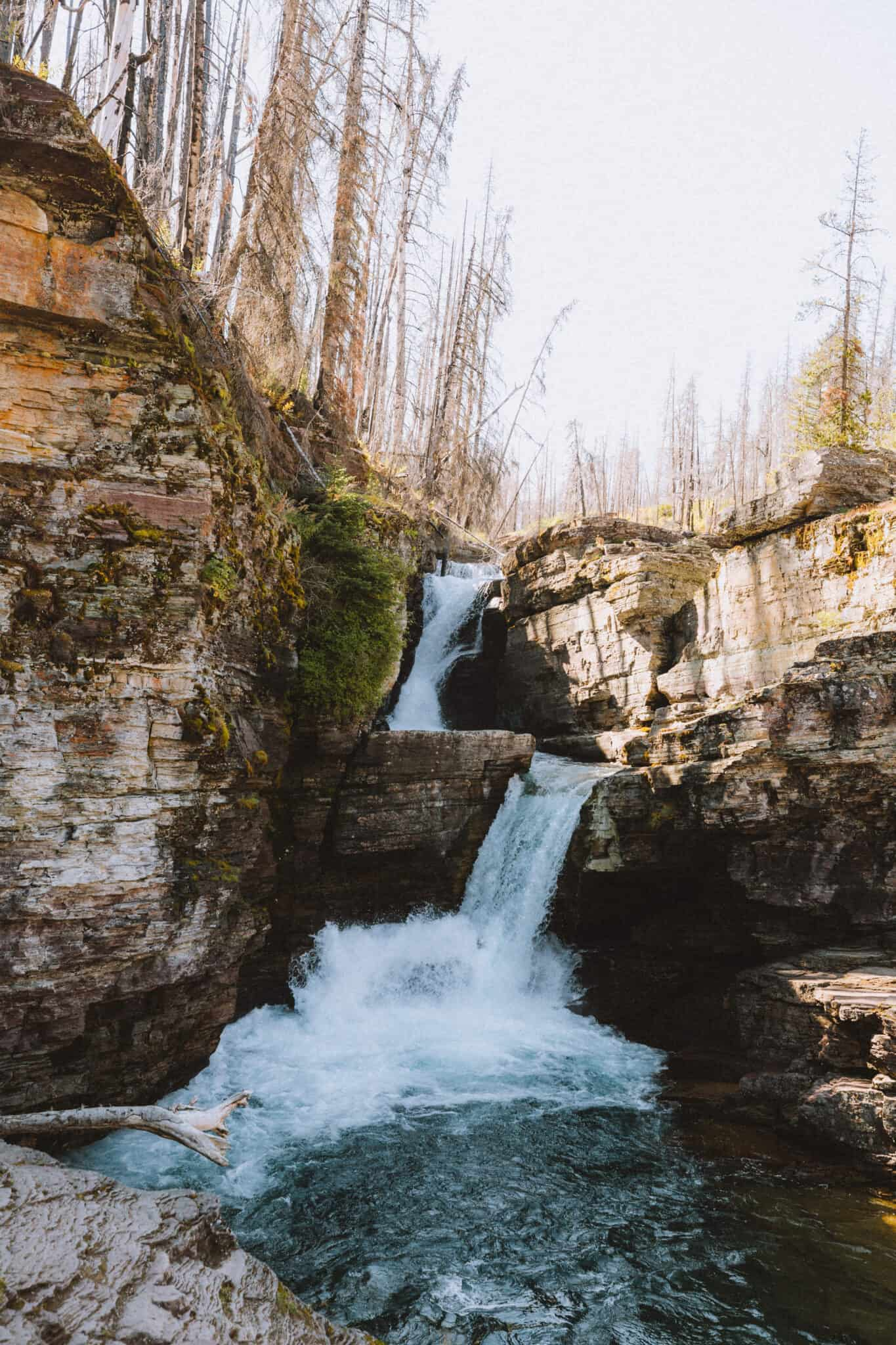 View of St Mary Falls in Glacier National Park