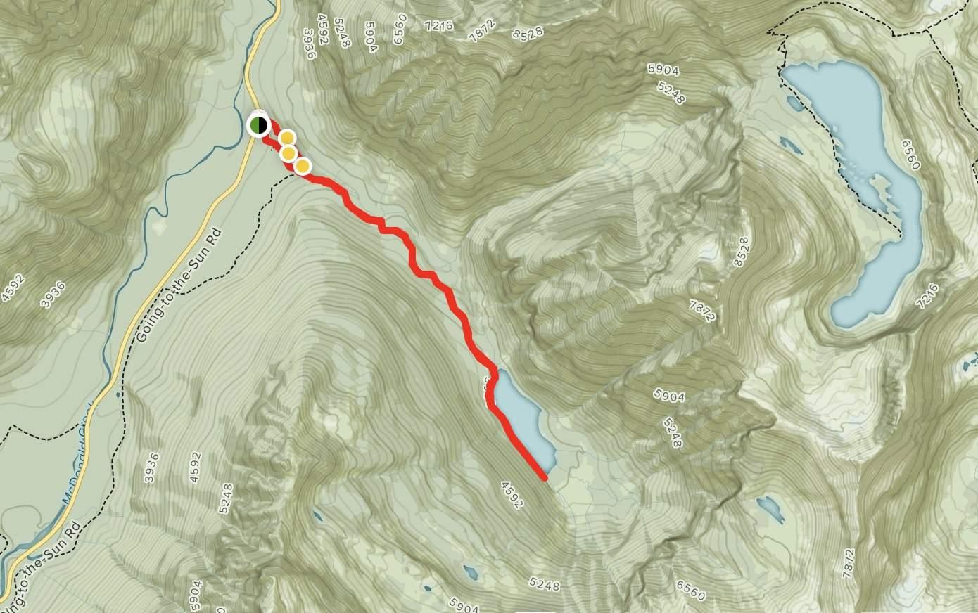 Avalanche Lake Hike Map - Glacier National Park -Glacier Hiking Trails