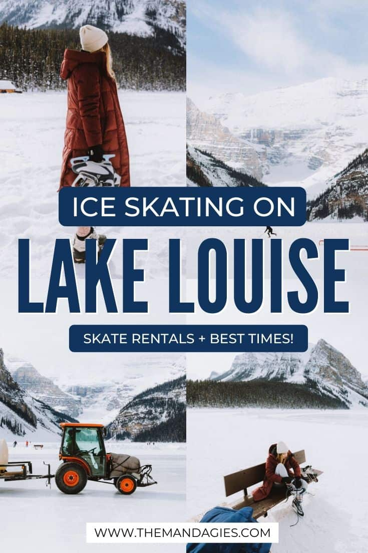 Wondering what to expect on a Lake Louise Ice Skating trip? We're sharing opening hours, skate rentals, what to wear and more right in Banff National Park in winter! #canada #banffnationalpark #lakelouise #iceskating #winter #canadianrockies #wintertravel #rockymountains #snowsports #landscape #mountains