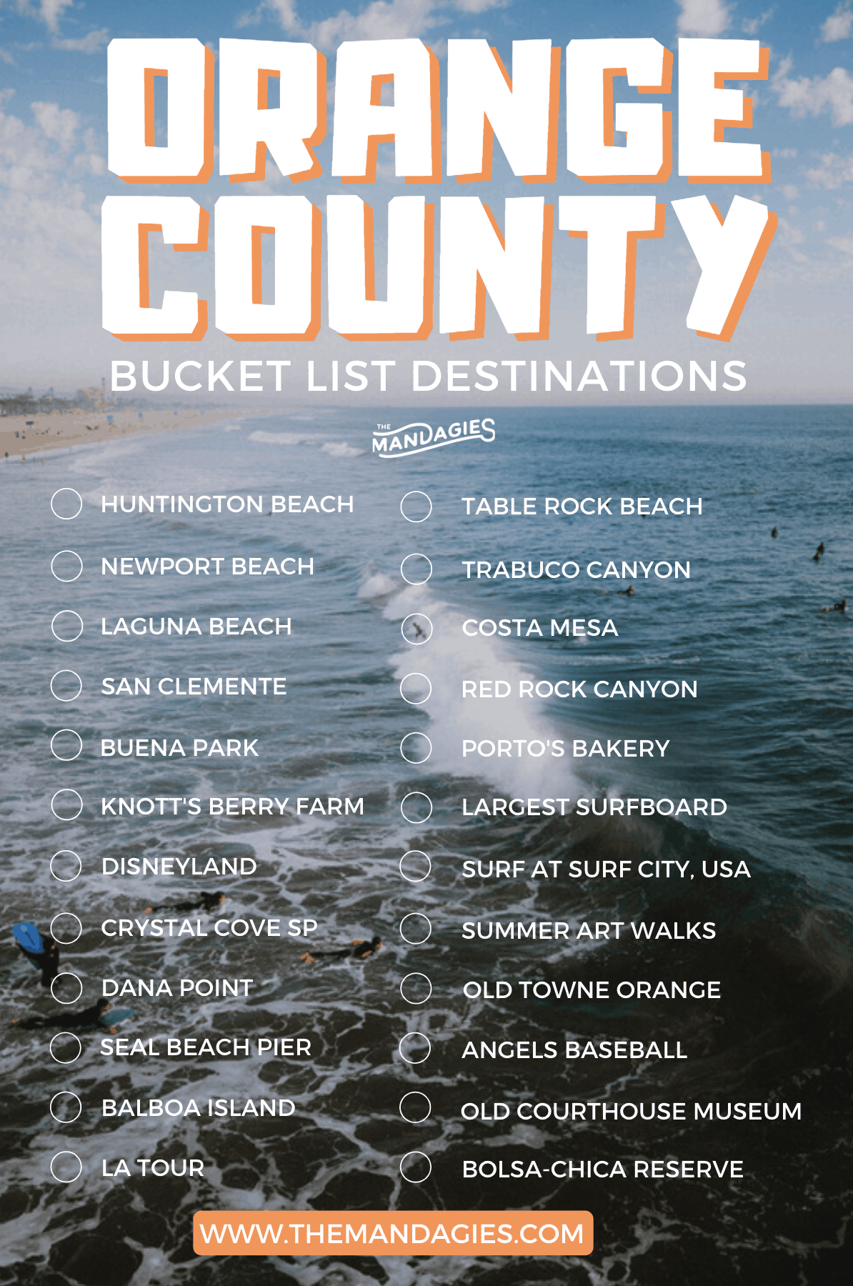Looking for awesome things to do in Orange County? We're sharing incredible outdoor activities, hikes, beaches, and more here! Save for inspiration on places to go in Orange County for a weekend trip or your OC Bucket List! #california #orangecounty #disneyland #huntingtonbeach #surfing #sunrise #travel #westernUSA #buckelist #travelinspiration #surfcityusa #lagunabeach #USA #TheOC