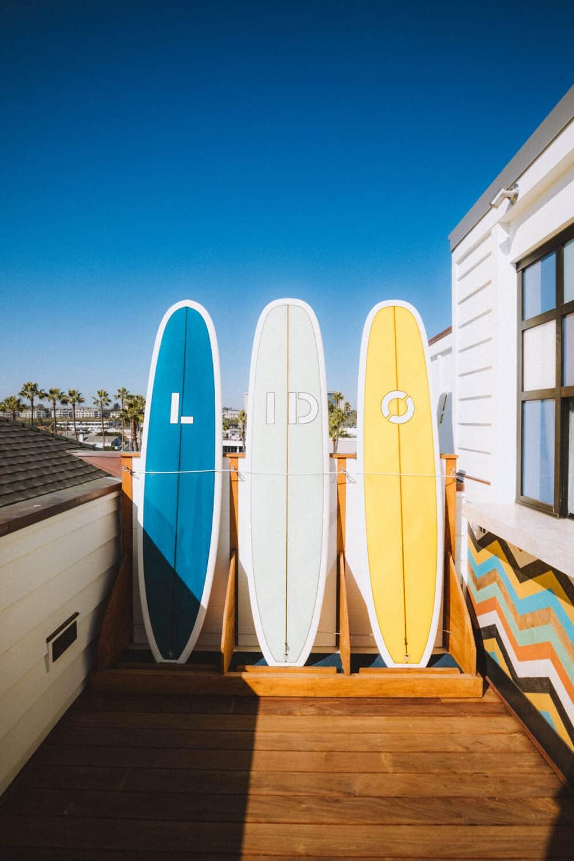 Lido House Hotel Rooftop Surfboards - Newport Beach - TheMandagies.com