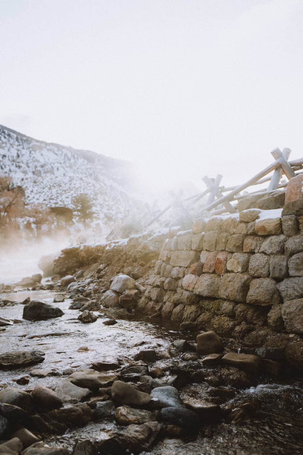 Manmade Barriers at the Boiling River hot springs - themandagies.com