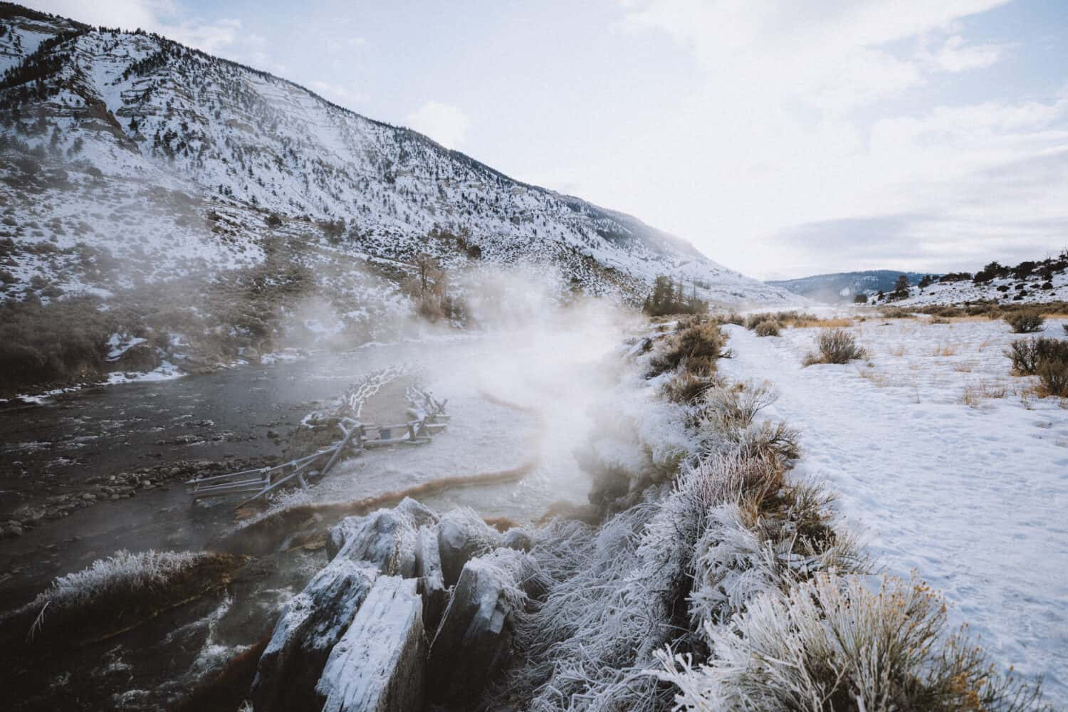 Bozeman Winter Activities - View of the Boiling River, Yellowstone - TheMandagies.com