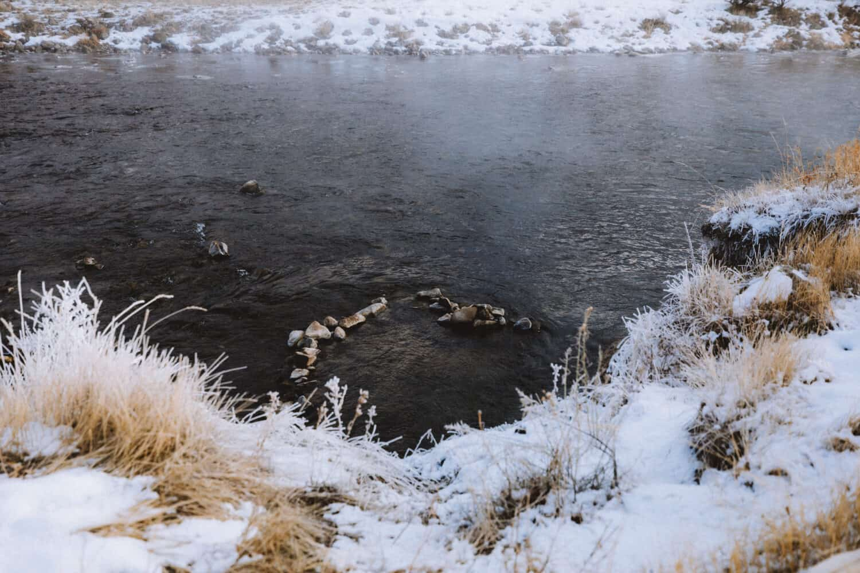 Stone lined pool in Gardiner River, Wyoming - TheMandagies.com