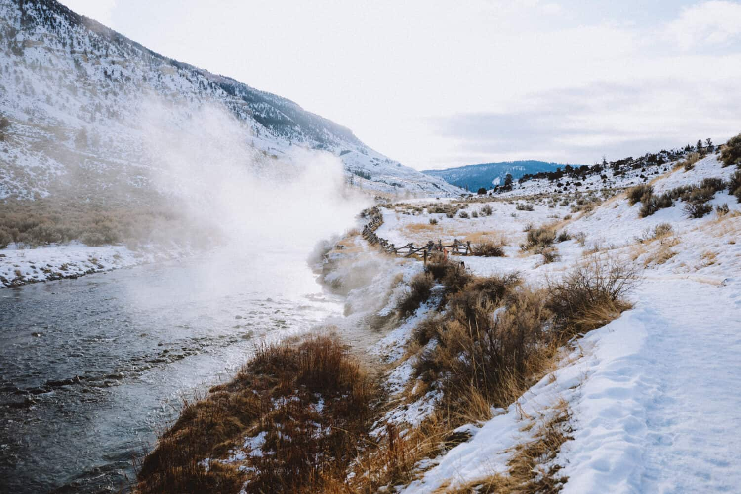Steam from Boiling River Yellowstone - TheMandagies.com
