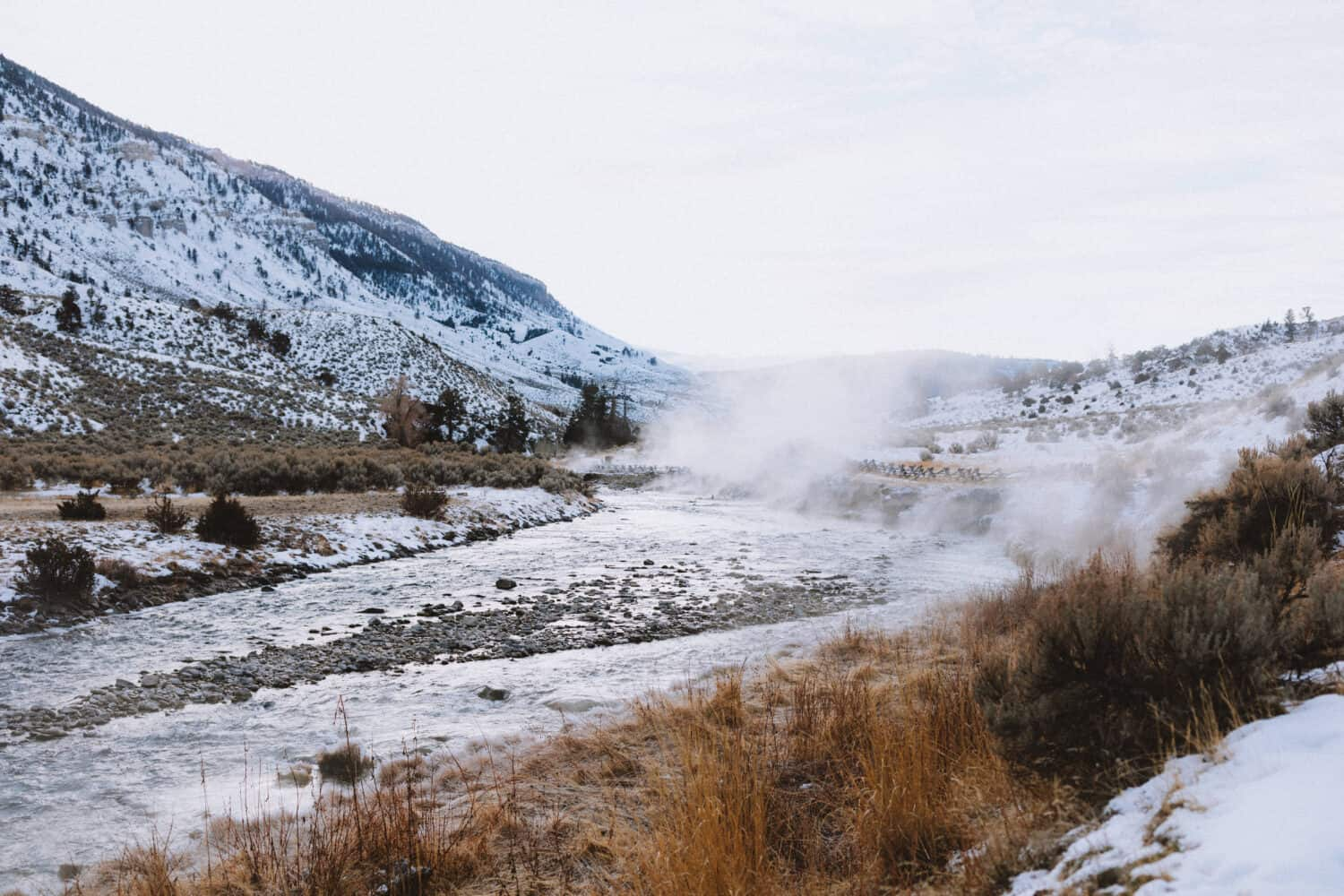 Steam coming from Gardiner River, Yellowstone National Park - TheMandagies.com