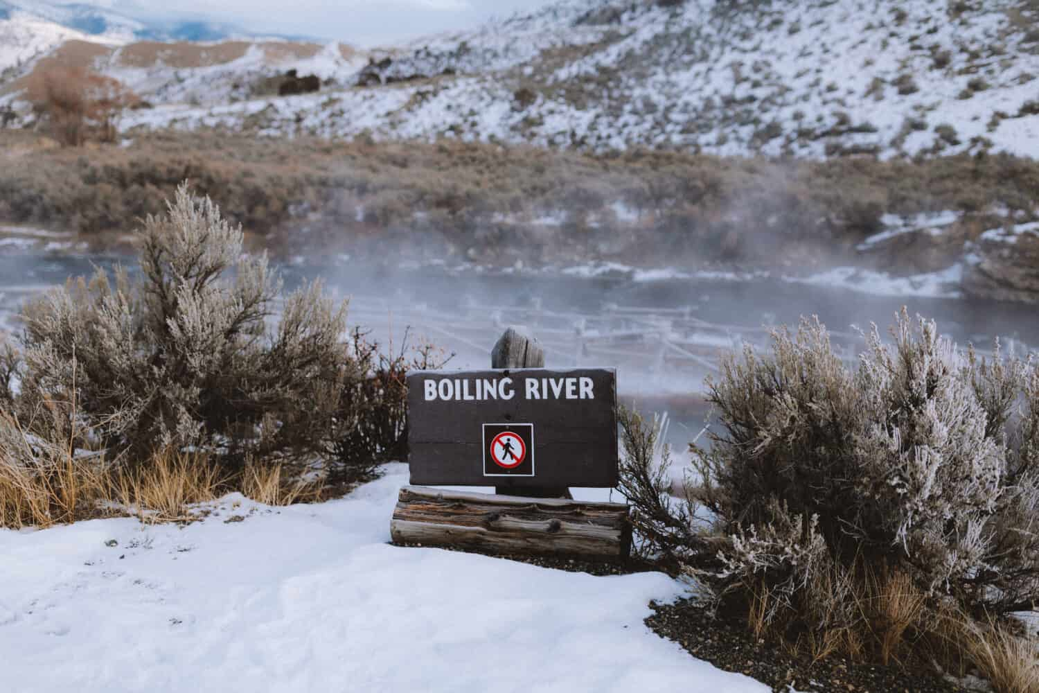Boiling River Sign in Yellowstone - TheMandagies.com