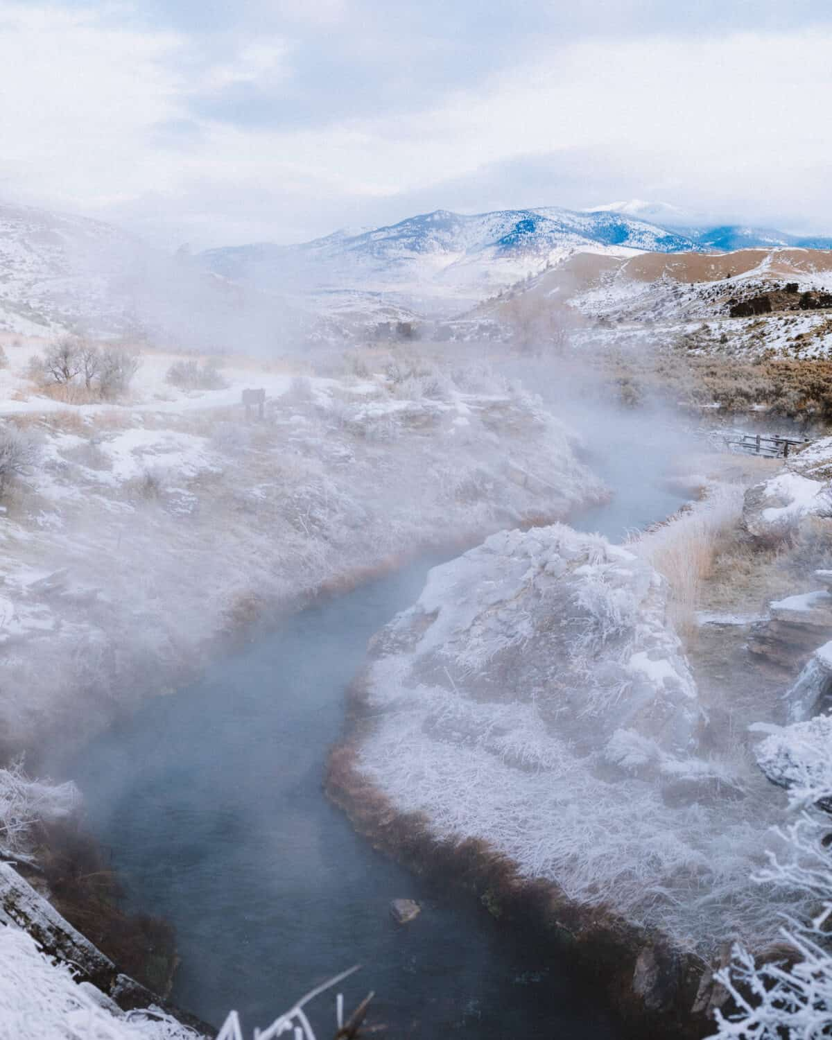 View of the Boiling River in Yellowstone - TheMandagies.com